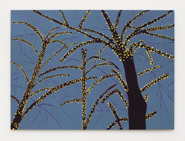 Patricia Leite, Jabuticabeira, 2018, oil on wood, 63 × 86 5/8 in / 160 × 220 cm. Imagen cortesía Mendes Wood