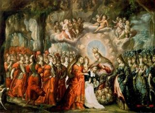 La lactación de Santo Domingo, (finales del siglo XVII). Sacristía de la iglesia de Santo Domingo (Ciudad de México).