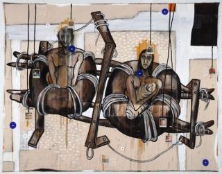 Luis Cruz Azaceta, Familia de Balseros, 1994, acrylic,charcoal on canvas, 84 x 108 in.