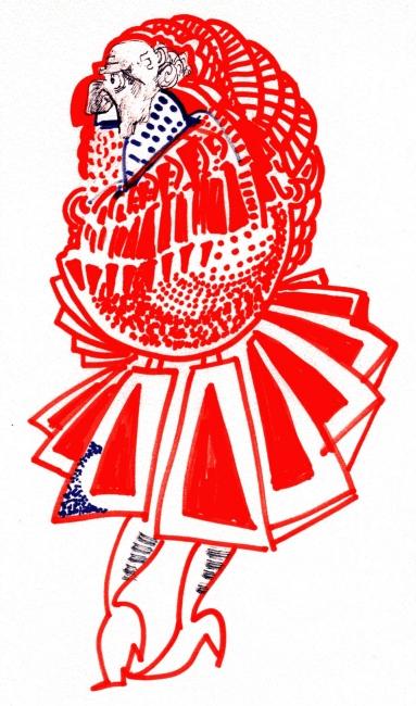 Federico Fellini, Casanova: hombre con traje de época, 1974-75? Rotuladores de colores sobre papel, 28x22 cm. Cineteca del Comune di Rimini, Fondo Norma Giacchero © Federico Fellini, VEGAP, Málaga, 2017.