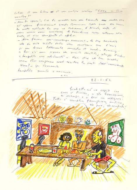 "Federico Fellini, El libro de los sueños (volumen I) 1960-68 (sueño del 22-1-62). Dibujo de Federico Fellini del ""Libro de los sueños"", Museo de la Ciudad de Rimini © Comune di Rimini y Francesca Fabbri Fellini © Federico Fellini, VEGAP, Málaga, 2017"