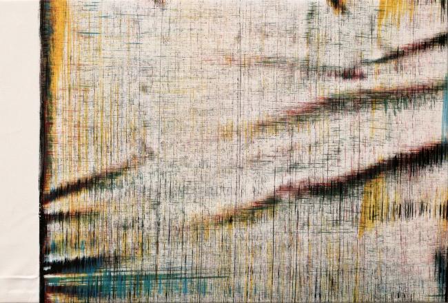Sergio Barrera. Antigesto (rizomas), nº 5. 31 x 47  cm. Acrílico sobre lienzo. 2016 – Cortesía de SET ESPAI D'ART