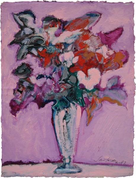 Cristina Santander - Flores Barrocas - acrilico sobre papel - 68cms x 50cms (1990)
