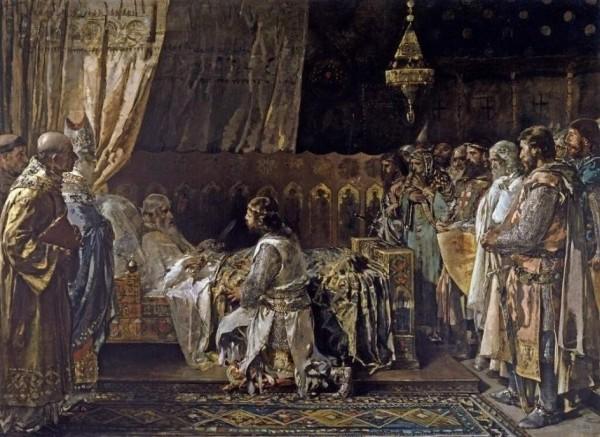 Últimos momentos del rey don Jaime el Conquistador en el acto de entregar su espada a su hijo don Pedro