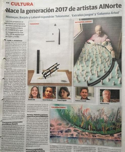 AlNorte en El Comercio   Ir al evento: 'XVI Becas ALNORTE   Apoyo a Proyectos Expositivos Noveles 2017'. Beca de Artes gráficas, Escultura, Fotografía, Pintura, Video arte