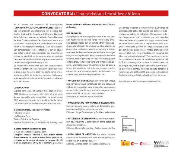 Convocatoria: Una revisión al fotolibro chileno | Ir al evento: 'Convocatoria: Una revisión al fotolibro chileno'. Certamen de Fotografía