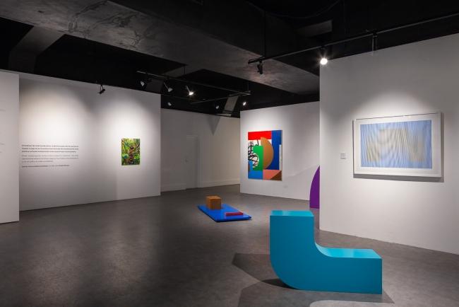 """""""Color y desplazamiento"""", del artista Cisco Merel en diálogo con las obras de Carlos Cruz-Diez e Ignacio Esplá. Foto cortesía de Alfredo J. Martiz J. @ajmartizj"""
