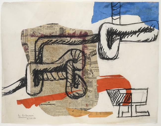 Le Corbusier, Corde et verres, 1954. Collage de papeles pintados, periódicos y carboncillo sobre papel. Firmado. 48x62 cm. – Cortesía de Guillermo de Osma Galería