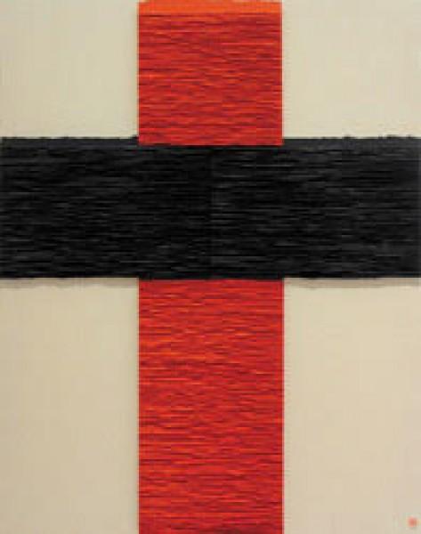 Fernando Daza, Cruz vermelha e negra, papel Canson, rasgado à mão e colado s/tela, 146x114 cm, 2015