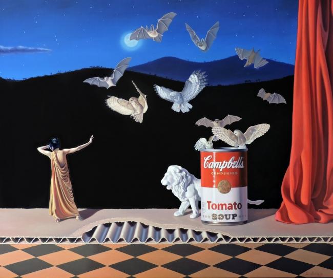 Joaquín Lalanne, Un poco de miedo. 2017. Óleo sobre lienzo. 100 x 120 cm. | Ir al evento: 'Cosmogonía Pop'. Exposición de Pintura en Galería Zielinsky / Barcelona, España
