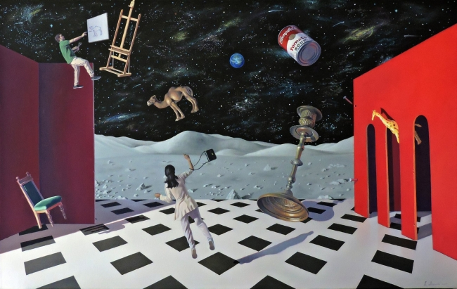 Joaquín Lalanne, Seguimos pintando. 2017. Óleo sobre lienzo. 81 x 130 cm.