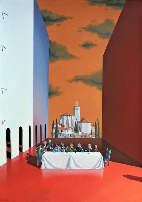 Joaquín Lalanne, La primera cena después de todo. 2017. Óleo sobre lienzo. 92 x 65 cm.