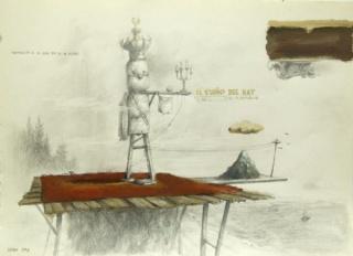 José Luis Serzo, Como un gran faro en las alturas. Óleo y lápiz sobre papel, 30x42cm., 2015