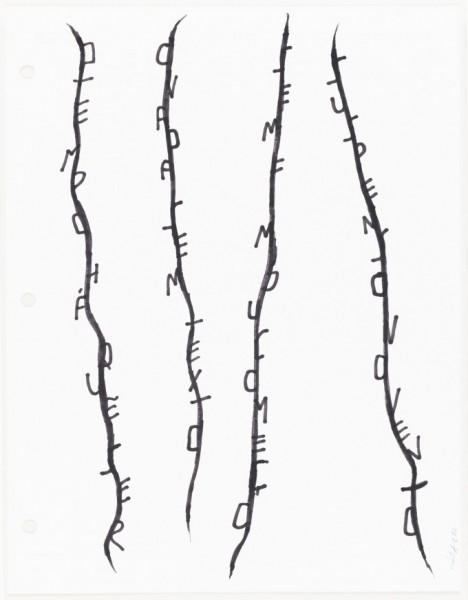 Eduardo Kac. Lianas, 1982. Marcador sobre papel. 27,9 x 21,6 cm.
