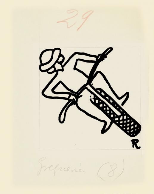 Ramón Gómez de la Serna, Greguerías, 5ª, Blanco y Negro, núm. 2.153, 18 de septiembre de 1932. Tinta y lápiz sobre cartón. Museo ABC, Madrid
