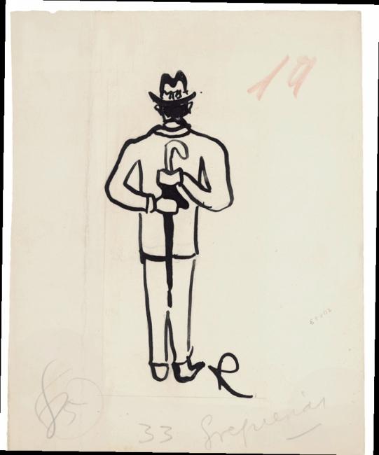 Ramón Gómez de la Serna, Greguerías, 3ª, Blanco y Negro, núm. 2.197, 23 de julio de 1933. Tinta y grafito sobre cartulina. Museo ABC, Madrid