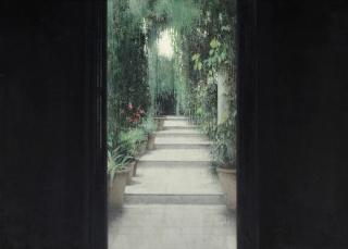 Carlos Morago, Salida al Jardín, óleo sobre madera, 50 × 70 cm. – Cortesía de la Sala Parés