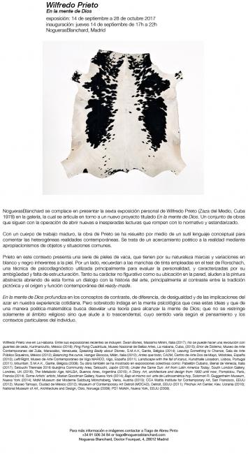 Wilfredo Prieto |En la mente de Dios | Ir al evento: 'En la mente de Dios'. Exposición en NoguerasBlanchard - Madrid / Madrid, España