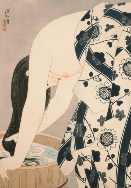 It? Shinsui. El cabello, 1952. Grabado en madera, estampado con tinta y pigmentos sobre papel © Taiyo no Hikari Foundation, Japón, 2018. Cortesía de la Fundación Joan Miró