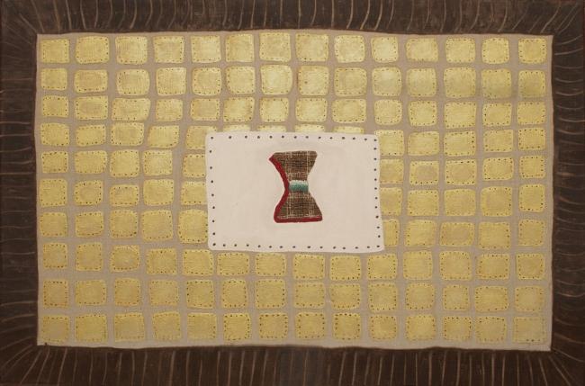 Marta Barrenechea, ADÁN, 2017, Bordado, óleo /lino, 54 x 81 cm.  – Cortesía de la galería Rafael Pérez Hernando