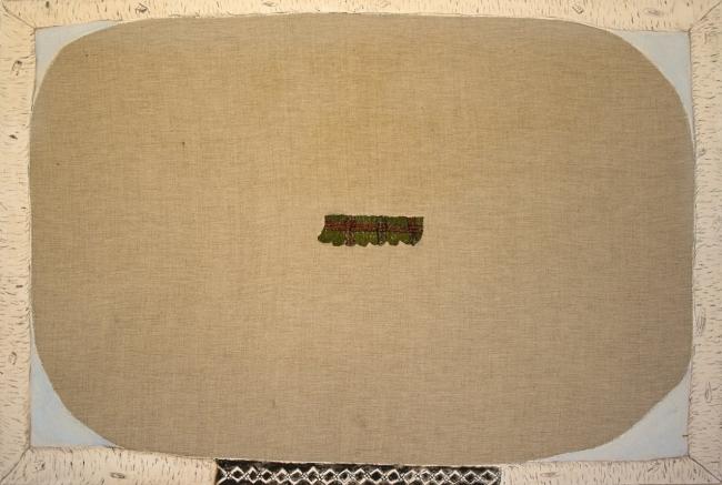 Marta Barrenechea, Sin título. 2015. Óleo y bordado sobre lino. 54 x 81 cm.  – Cortesía de la galería Rafael Pérez Hernando