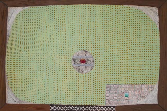 Marta Barrenechea, Sin título. 2016. Óleo y bordado sobre lino. 54 x 81 cm.  – Cortesía de la galería Rafael Pérez Hernando