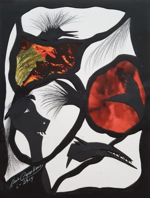 María Capulino, Retazos 4, 2014,  mixta sobre cartulina, 32 x 25 cm – Cortesía de la Galería Acanto