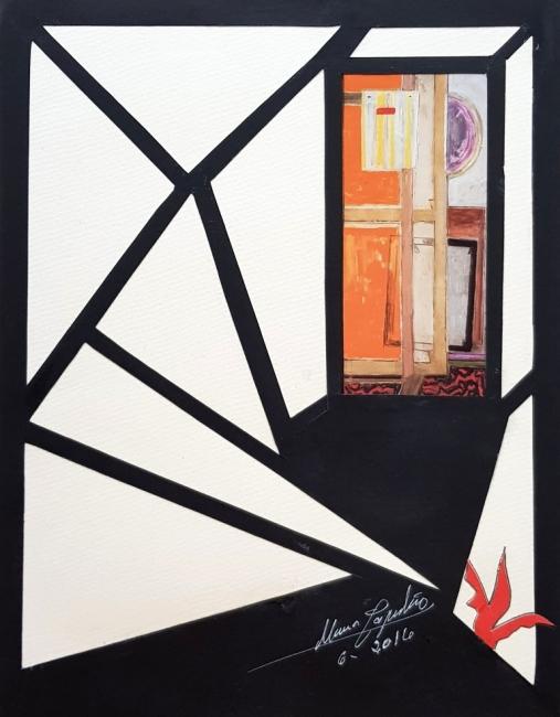 María Capulino, Retazos 85, Homenaje a Capuleto, 2016, téncica mixta sobre cartulina, 32 x 25 cm – Cortesía de la Galería Acanto