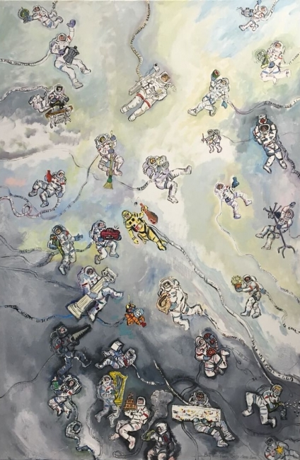 Astronautas - ENERO - 146 x 97 cm., óleo sobre lienzo