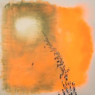 Juan Genovés, Cadmium, 2016, acrylic on canvas, 200x200 cm.