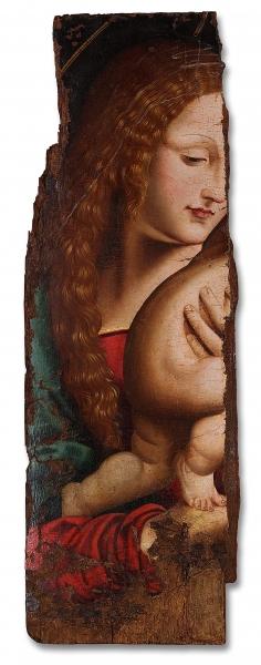 Anónimo. Fragmento de Sagrada Familia. Primera mitad del siglo XVI. Óleo sobre tabla. Procedente de la Seu Vella de Lleida (?). Museu de Lleida