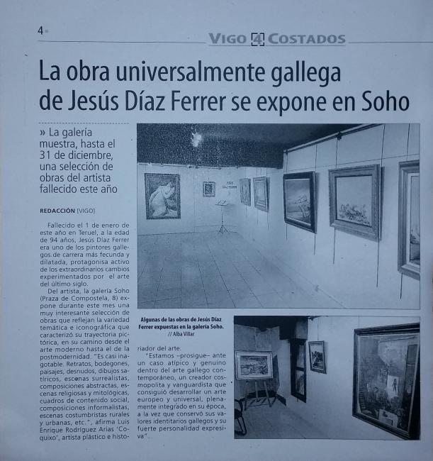 Articulo Faro de Vigo | Ir al evento: 'Jesús Díaz Ferrer'. Exposición de Pintura en Soho de Vigo / Vigo, Pontevedra, España