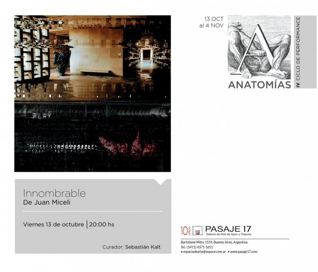 Innombrable. De Juan Miceli. | Ir al evento: 'Ciclo de Performance: Anatomías'. Performance de Arte en vivo, Arte sonoro, Videoperformance en Pasaje 17 Arte Contemporáneo / Buenos Aires, Argentina