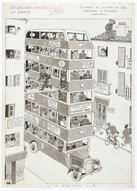 Los grandes inventos. El autobús de seis pisos que hace innecesario el ascensor, 1936. Publicado en Crónica, el 15 de abril de 1936.