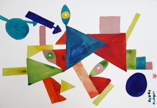 Julie Alegre, Mere terre dat veitmien, tinta sobre papel-50 x 70 cm. – Cortesía de Stoa Gallery