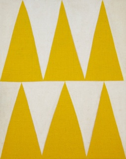 Antonio Ballester Moreno, Six Triangles, 2016. Acrílico sobre yute. 92 x 73 cm. – Cortesía de Maisterravalbuena