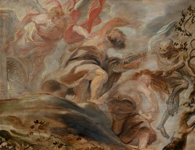 La expulsión de Adán y Eva del Paraíso, Rubens. Óleo sobre tabla, 49,5x64,5 cm 1620 Praga, Národní Galerie – Cortesía del Museo del Prado