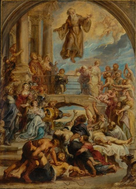 Los milagros de san Francisco de Paula, Rubens. Óleo sobre tabla, 110,5 x 79,4 cm h. 1627 - 1628 Los Ángeles, The J. Paul Getty Museum  – Cortesía del Museo del Prado