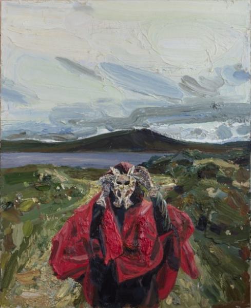 Allison Schulnik. Pelvic Bone at Loch Fannish (Eric's Eye), 2017. Óleo sobre lienzo. 218,5 x 178 x 8 cm. / 86 x 70 x 3 in. Fotografía: Robert Wedemeyer. Cortesía Galería Javier López & Fer Francés, Madrid.