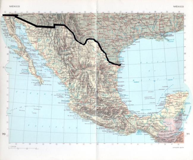La línea. Páginas de atlas recortadas. 20 x 24 cm. 2018. Imagen cortesía Juan José Martín