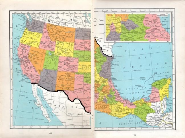Línea rota  Páginas de atlas intervenidas. 24 x 32,5 cm.2018. Imagen cortesía Juan José Martín
