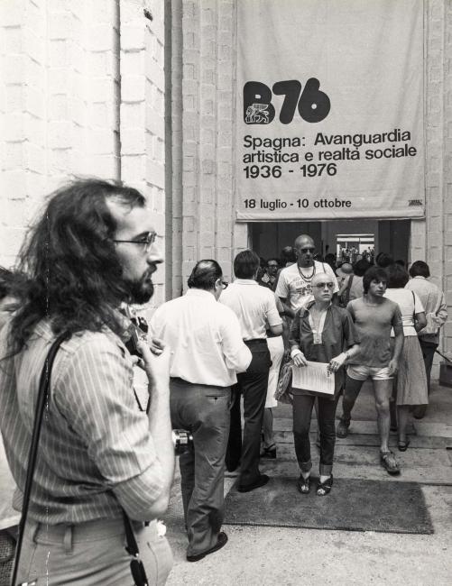 Entrada a la exposición España. Vanguardia artística y realidad social. 1936-1976 en la Bienal de Venecia de 1976, 1976 — Cortesía del IVAM