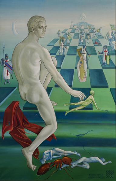 Margaret Modlin, Ceguera ajedrecística, óleo sobre lienzo, 193 x 126 cm.