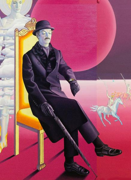 Margaret Modlin, Elmer tú que contemplas los siete sellos del Apocalipsis, óleo y pan de oro sobre lienzo, 214 x 377 cm. Tríptico (detalle)