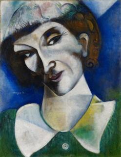 Marc Chagall Autorretrato (Portrait de l'artiste), 1914 Óleo sobre cartón, montado sobre lienzo 50,5 x 38 cm  Depósito permanente en el Kunstmuseum Basel 2004 Fundación Im Obersteg © Marc Chagall, VEGAP, Bilbao, 2017. Cortesía del Museo Guggenheim