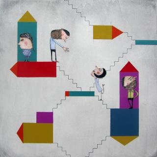 Moisés Yagües. Dobles parejas. Pintura s/tabla – Cortesía de Alba Cabrera Art Contemporani