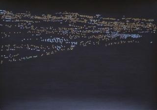 Constelación humana 224 (Benidorm), acrílico y lápiz sobre papel, 29,5 x 41,5 cm. Rosalía Banet, 2015