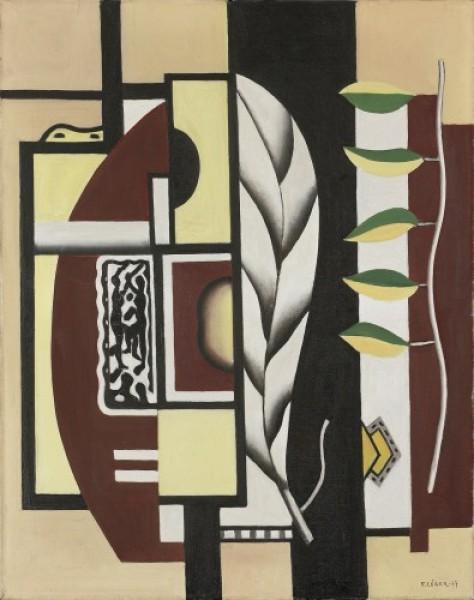 Fernand Léger, Hojas verdes (Naturaleza muerta) (Les feuilles vertes [Nature morte]), 1927. Óleo sobre lienzo, 92 x 73 cm. Hermann und Margrit Rupf-Stiftung, Kunstmuseum Bern