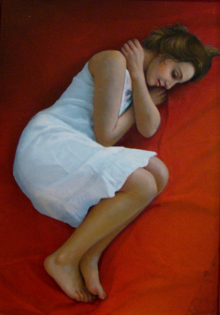 07 Merche acostada | Ir al evento: 'Pasión por la Vida'. Exposición de Pintura en Museo Etnográfico Extremeño González Santana / Olivenza, Badajoz, España