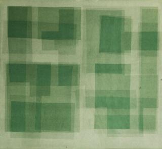 Heliografia I (green), Velvet mounted on wooden board, 100x90 cm, 2016